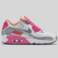 Nike Air Max 90 Mesh (GS) White Metallic Silver Pink Pow