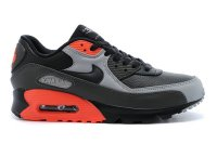 Mens Nike Air Max 90 Leather Black/Grey/Orange