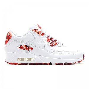 Men&Womens Nike Air Max 90 Leather White Red