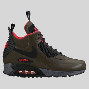 Nike Air Max 90 Sneakerboot WNTR Dark Loden Black Bright Crimson