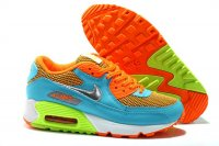 Womens Nike Air Max 90 Orange/Light Blue/Volt/White