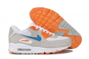 Womens Nike Air Max 90 White/Grey/Orange/Blue