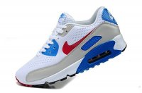 Mens Nike Air Max 90 Premium EM White/Red/Silver Blue