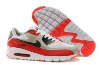 Mens Air Max 90 Breathe White/Black/Wolf Grey/Red
