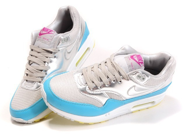 Mens Air Max 87 Silver Blue - Click Image to Close
