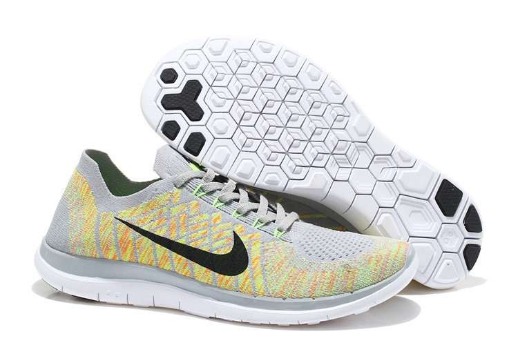 nike free 4.0 flyknit grey yellow living